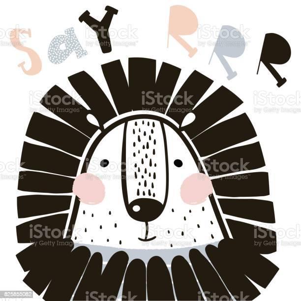 Cute cartoon lion in scandinavian style childish print for nursery vector id825855082?b=1&k=6&m=825855082&s=612x612&h=jcw ytnmn1glfsngeqjm vq9gqvg5ndocjx3nbdqgia=