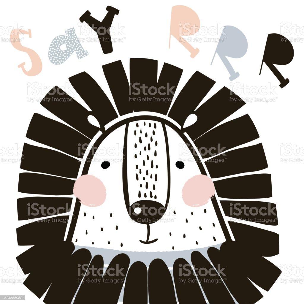 Cute cartoon lion in scandinavian style. Childish print for nursery, kids apparel,poster, postcard. Vector Illustration vector art illustration
