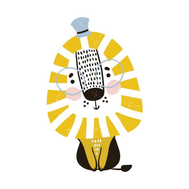 León de dibujos animados lindo de estilo escandinavo. Impresión infantil para guardería, ropa de niños, cartel, postal. Ilustración de vector - ilustración de arte vectorial