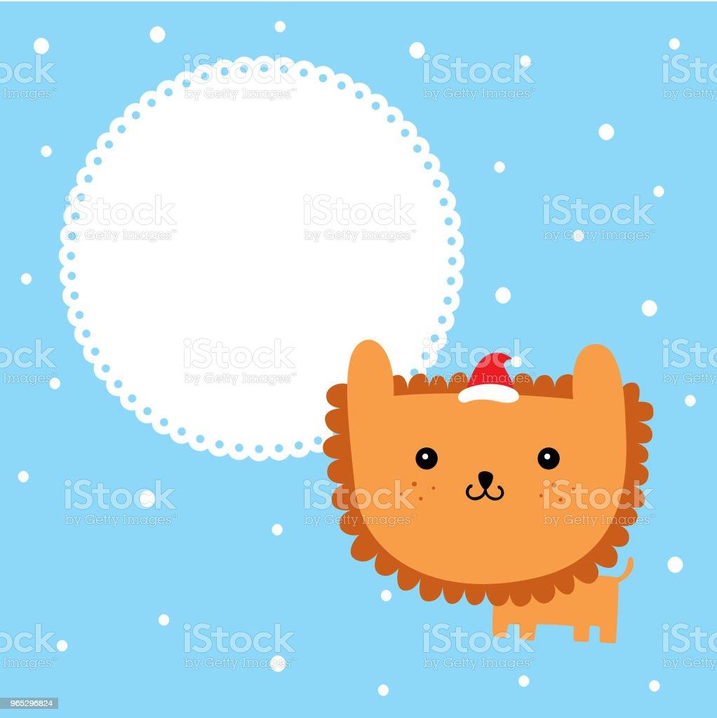 cute cartoon lion merry christmas greeting card vector cute cartoon lion merry christmas greeting card vector - stockowe grafiki wektorowe i więcej obrazów baby shower royalty-free
