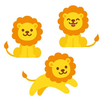 Cute cartoon lion set