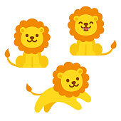 Cute cartoon lion illustration set. Sitting, roaring and jumping. Funny vector clip art illustration for kids.