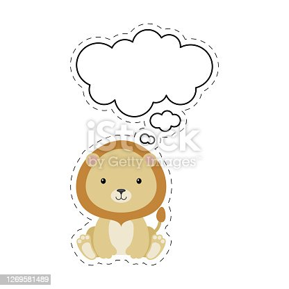 istock Cute cartoon lion with speech bubble sticker. Kawaii character on white background. Cartoon sitting animal postcard clipart for birthday, baby shower, party event. Vector stock illustration. 1269581489