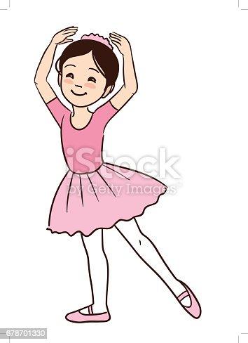Cute Cartoon Little Ballerina Girl In Ballet Stance Stock ...