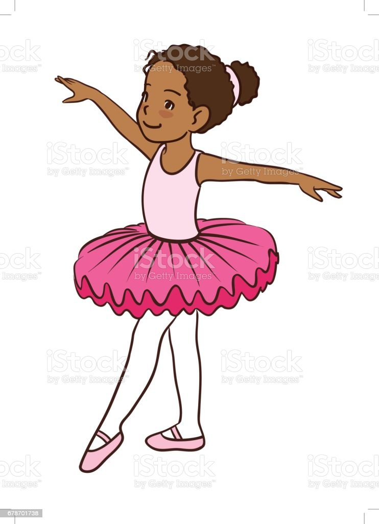 cute cartoon little ballet girl with dark skin stock