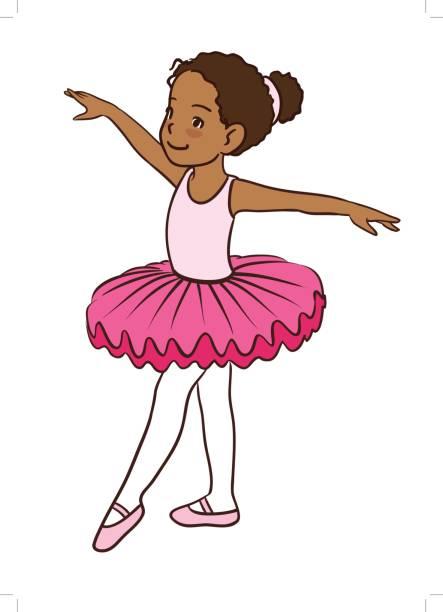 Cute cartoon little ballet girl with dark skin vector art illustration