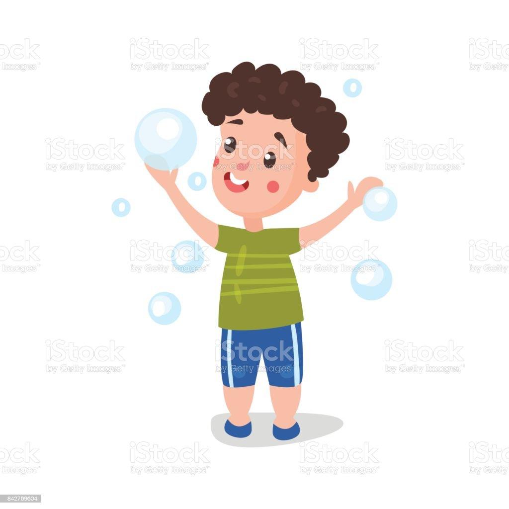 かわいい漫画の男の子を持つシャボン玉で遊んで楽しいベクトル イラスト