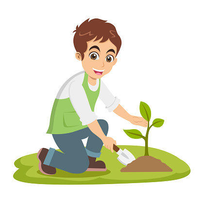 Cute cartoon little boy plant a tree isolated on white background