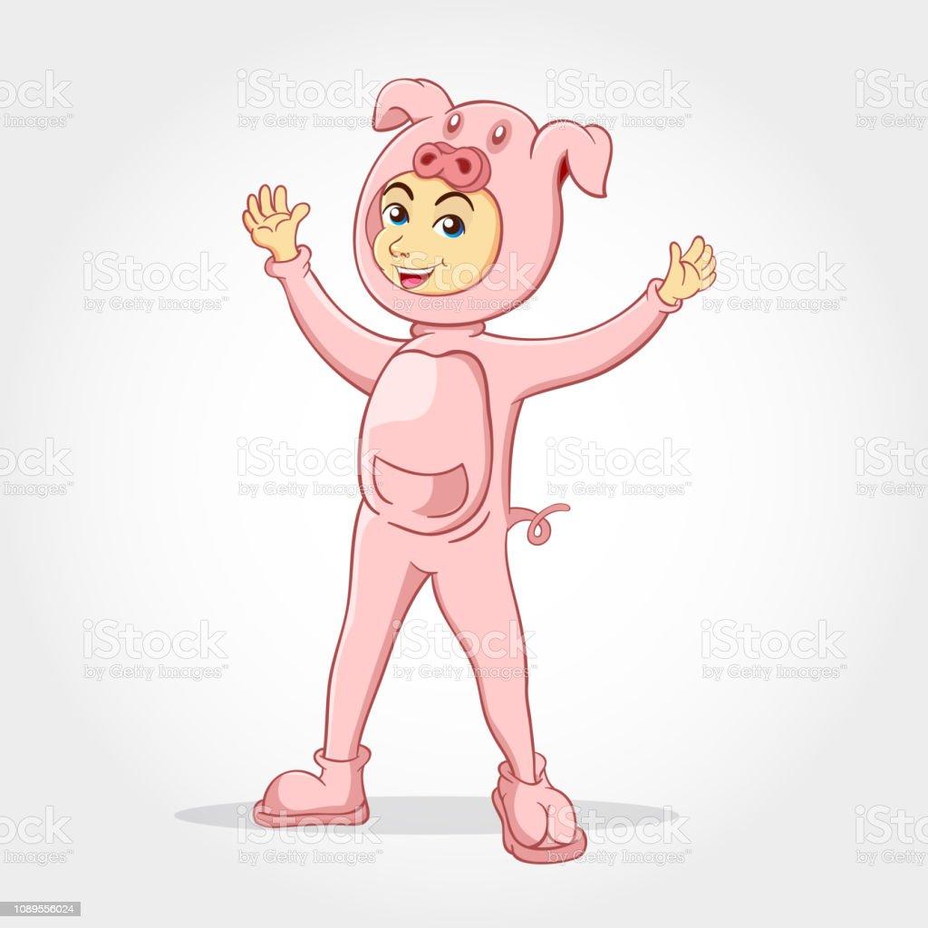Dessin Animé Mignon Petit Garçon Vêtu Dun Costume De Cochon