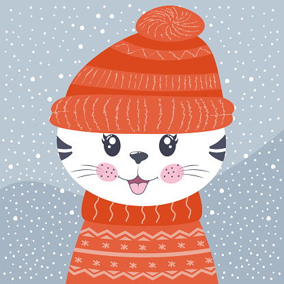 Cute cartoon little cat kitty on winter background.