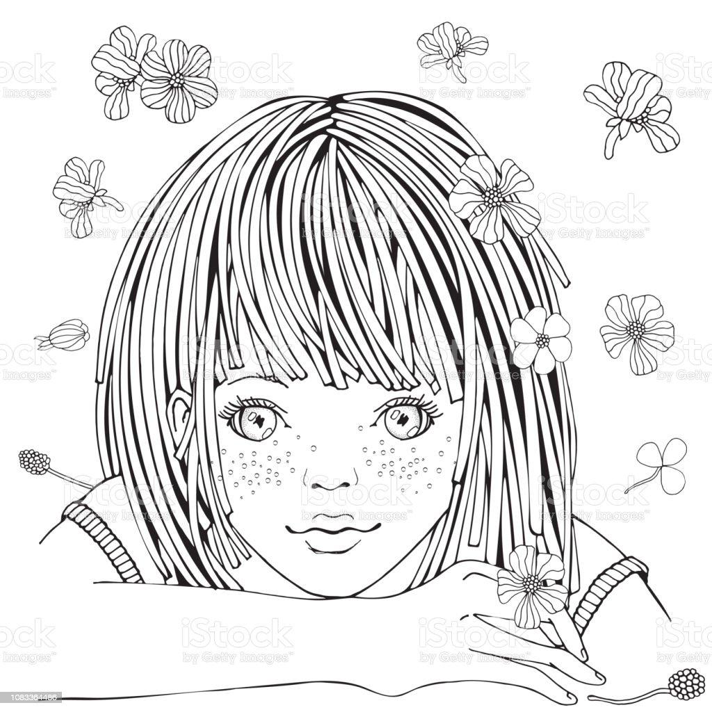 Ilustración De Cute Dibujos Animados Niña Y Flores Página De