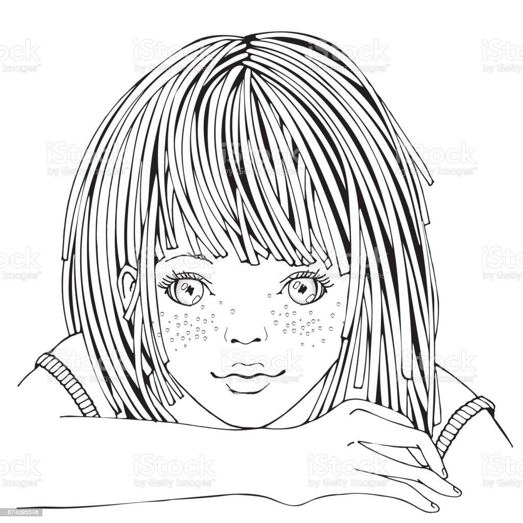 Ilustración De Cute Dibujos Animados Niña Página De Libro Para