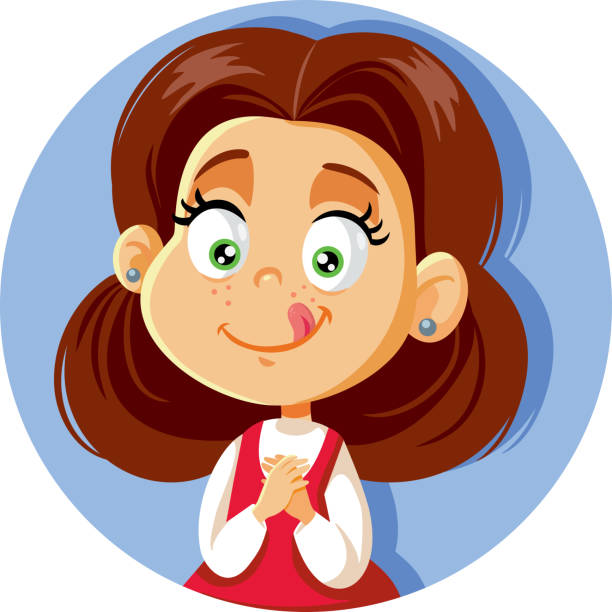 Cute Cartoon Little Girl Craving for Sweets Funny kid feeling hungry and waiting for sweet treat hungry child stock illustrations