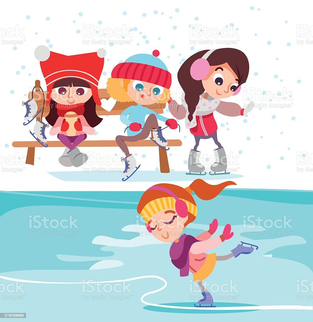 Cute cartoon little girls on ice rink.
