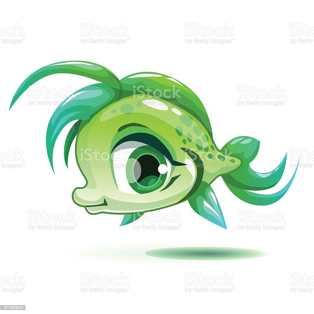 Cute Cartoon Little Green Girl Fish Stock Vector Art & More Images ...