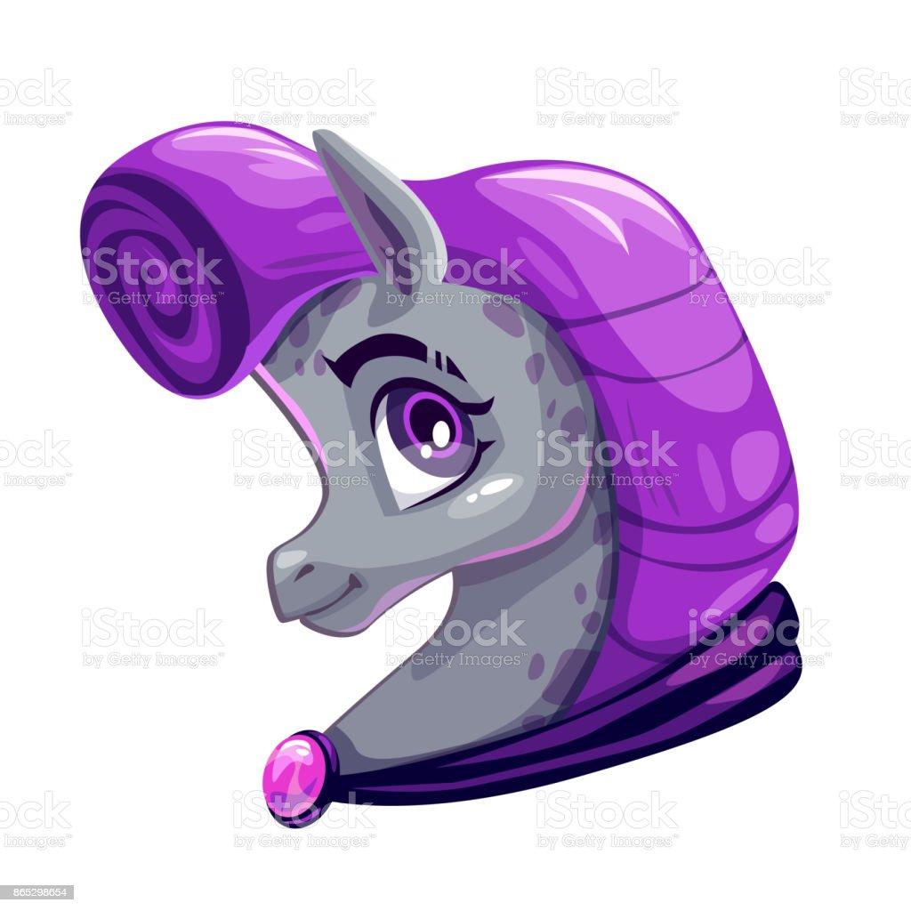 Cute cartoon little horse face vector art illustration