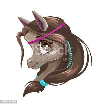 Cute Cartoon Little Horse Face Stock Vector Art More Images Of
