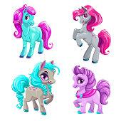 Cute cartoon little horses set. Isolated vector pony icons.