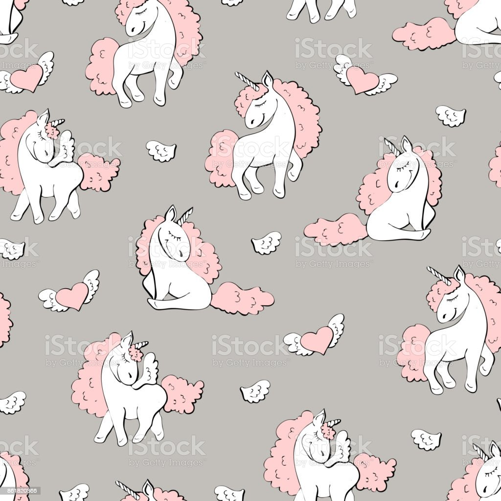 Cute cartoon little mermaid girls seamless pattern on white. vector art illustration
