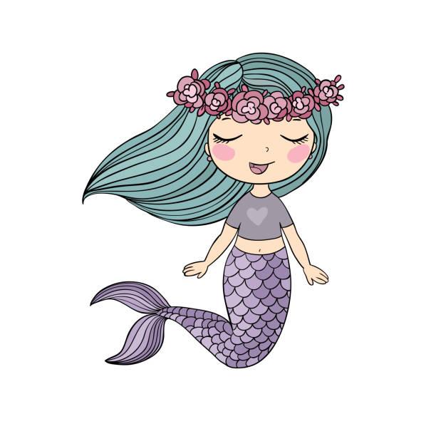 ilustraciones, imágenes clip art, dibujos animados e iconos de stock de cute dibujos animados sirenita. sirena. tema del mar. - tatuajes de sirenas