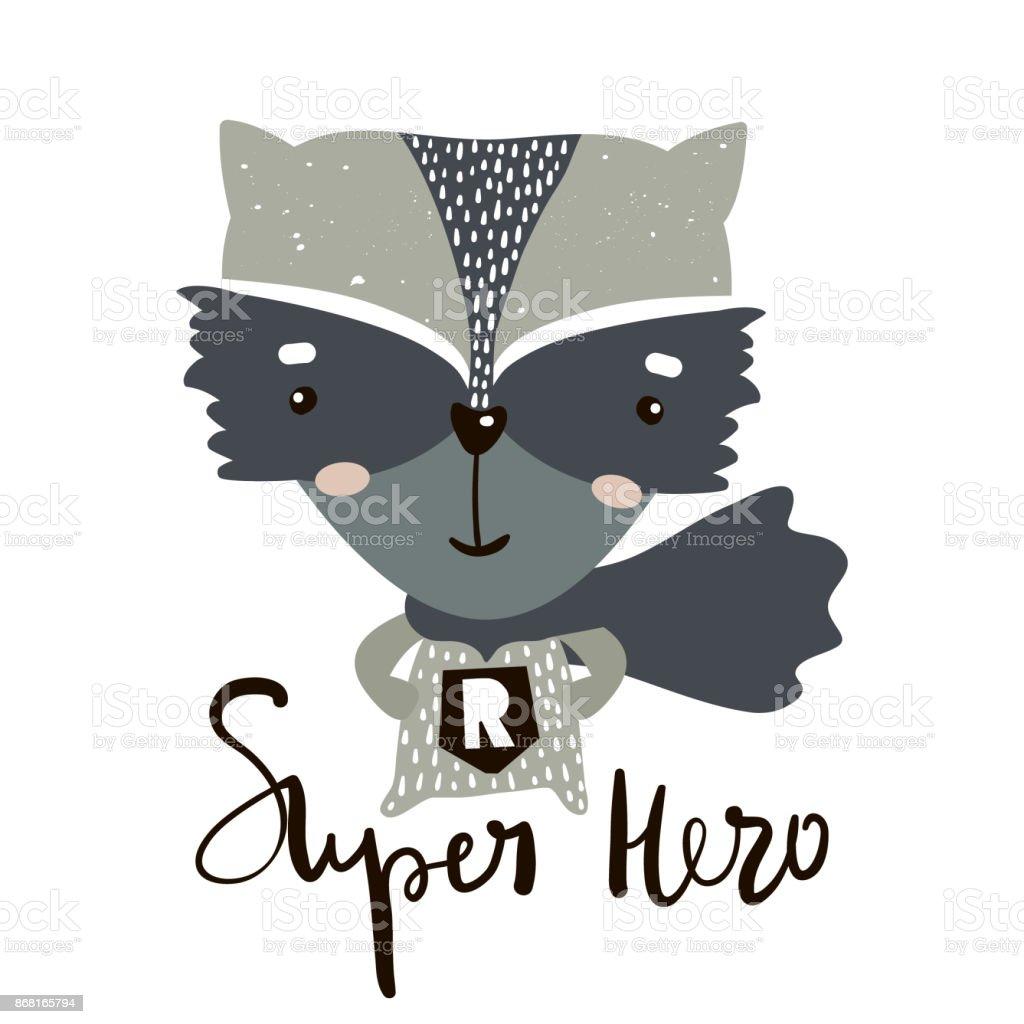 Cute dibujos animados héroe poco de mapache. Impresión infantil para guardería, ropa de niños, cartel, postal. Ilustración de vector - ilustración de arte vectorial