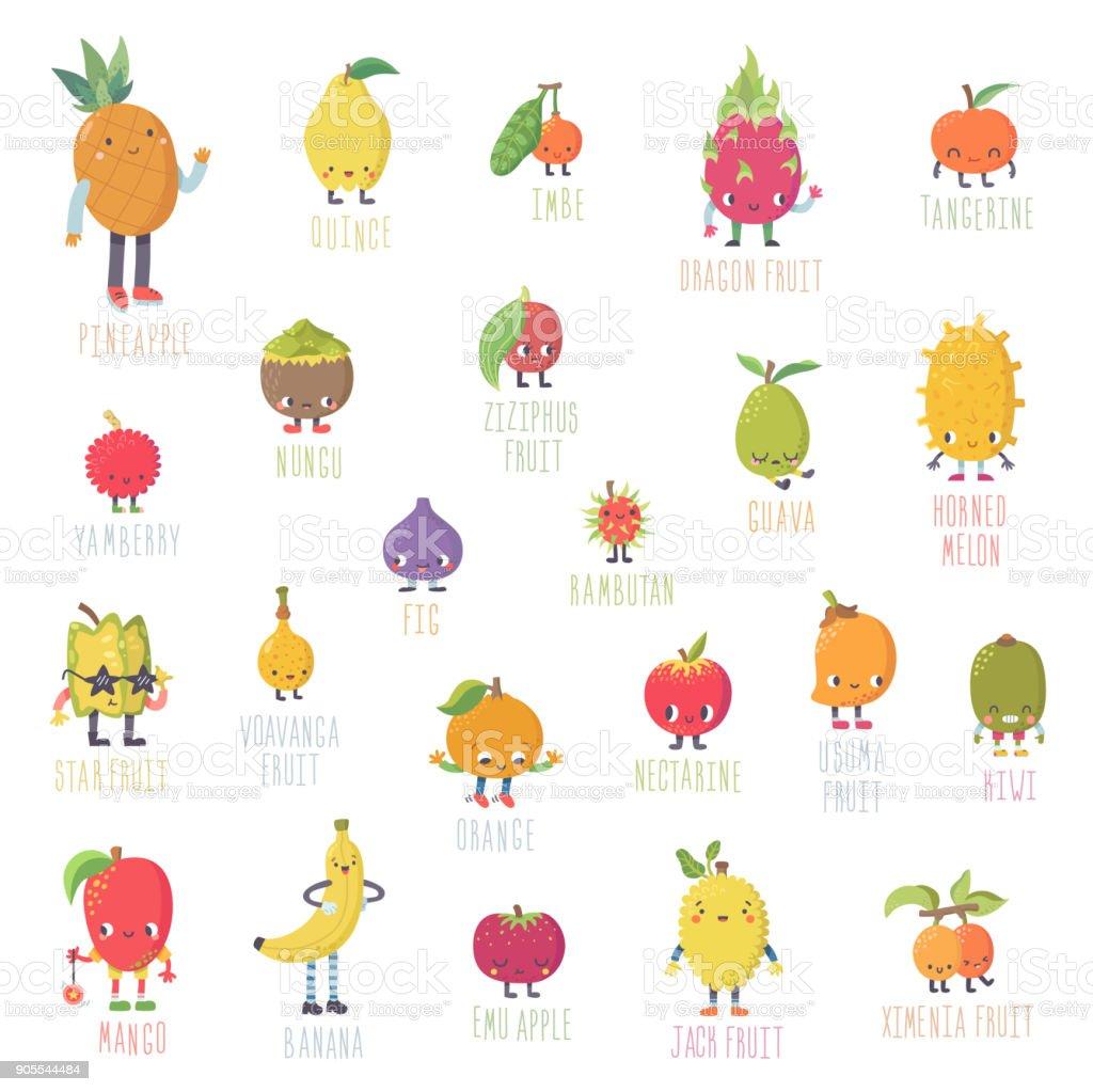 Cute cartoon live exotic fruits vector set. vector art illustration