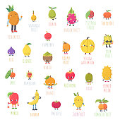 Cute cartoon live exotic fruits vector set. Funny characters in nice colors.