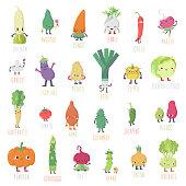 Cute cartoon live vegetables big vector set. Funny characters in nice colors.
