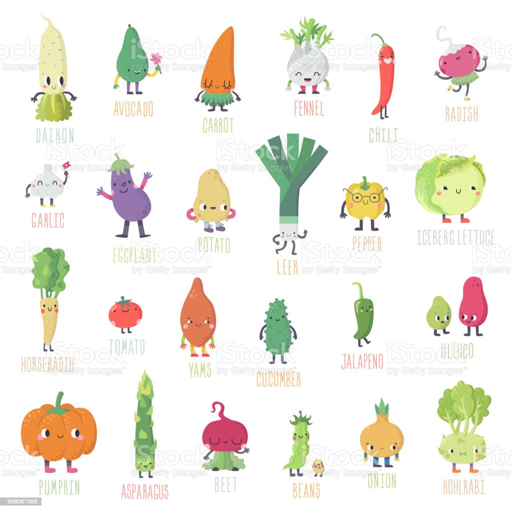 Cute cartoon live vegetables big vector big set. vector art illustration