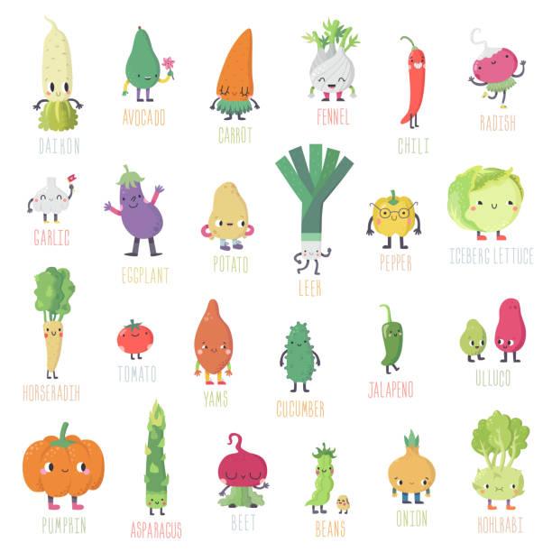 cute cartoon live vegetables big vector big set. - lettuce stock illustrations