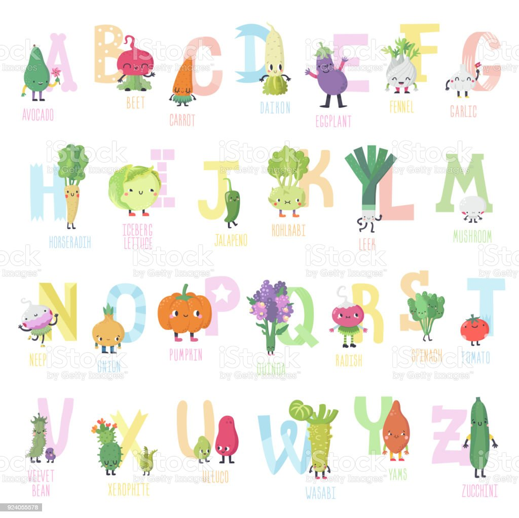 Cute cartoon live vegetables vector alphabet in nice colors. vector art illustration