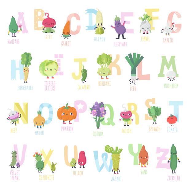 ilustrações de stock, clip art, desenhos animados e ícones de cute cartoon live vegetables vector alphabet in nice colors. - quinoa