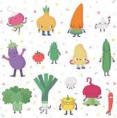 Cute cartoon live vegetables vector set in nice colors.