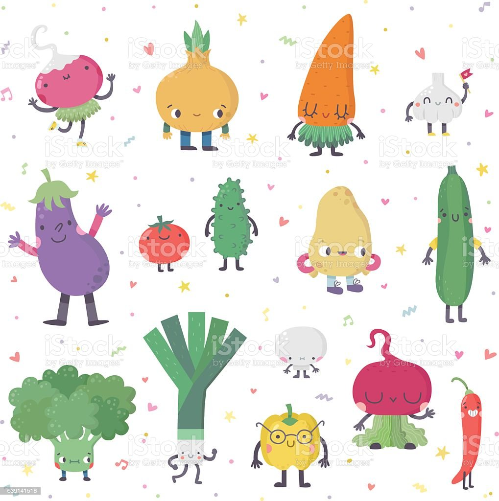 Cute cartoon live vegetables vector set in nice colors. vector art illustration
