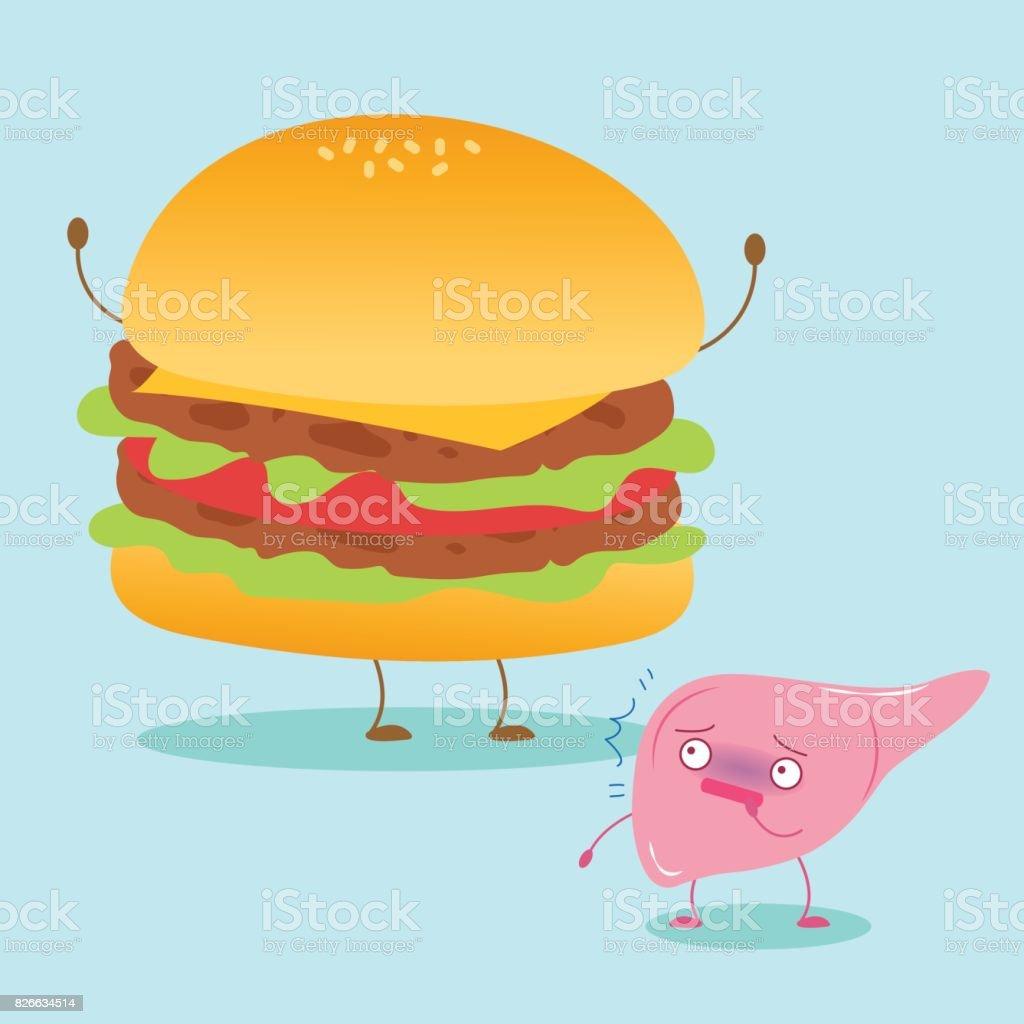 cute cartoon liver vector art illustration