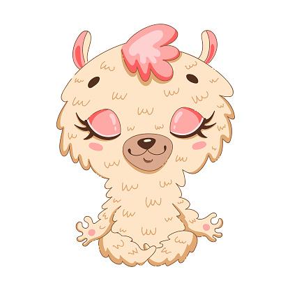 Cute cartoon llama meditation. Yoga meditation animals