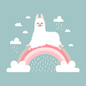 Vector image, clipart, editable details. Cute cartoon llama nursery stylish Illustration, unique print for posters, cards, clothes, invitations, t-shirts designs, baby stuff.