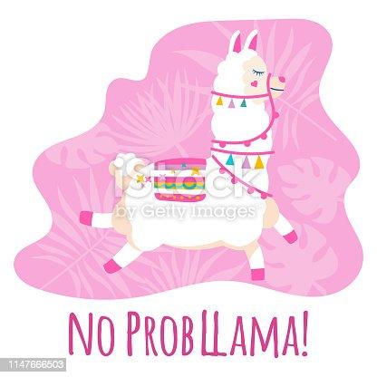 Cute cartoon llama vector design with No prob llama motivational quote