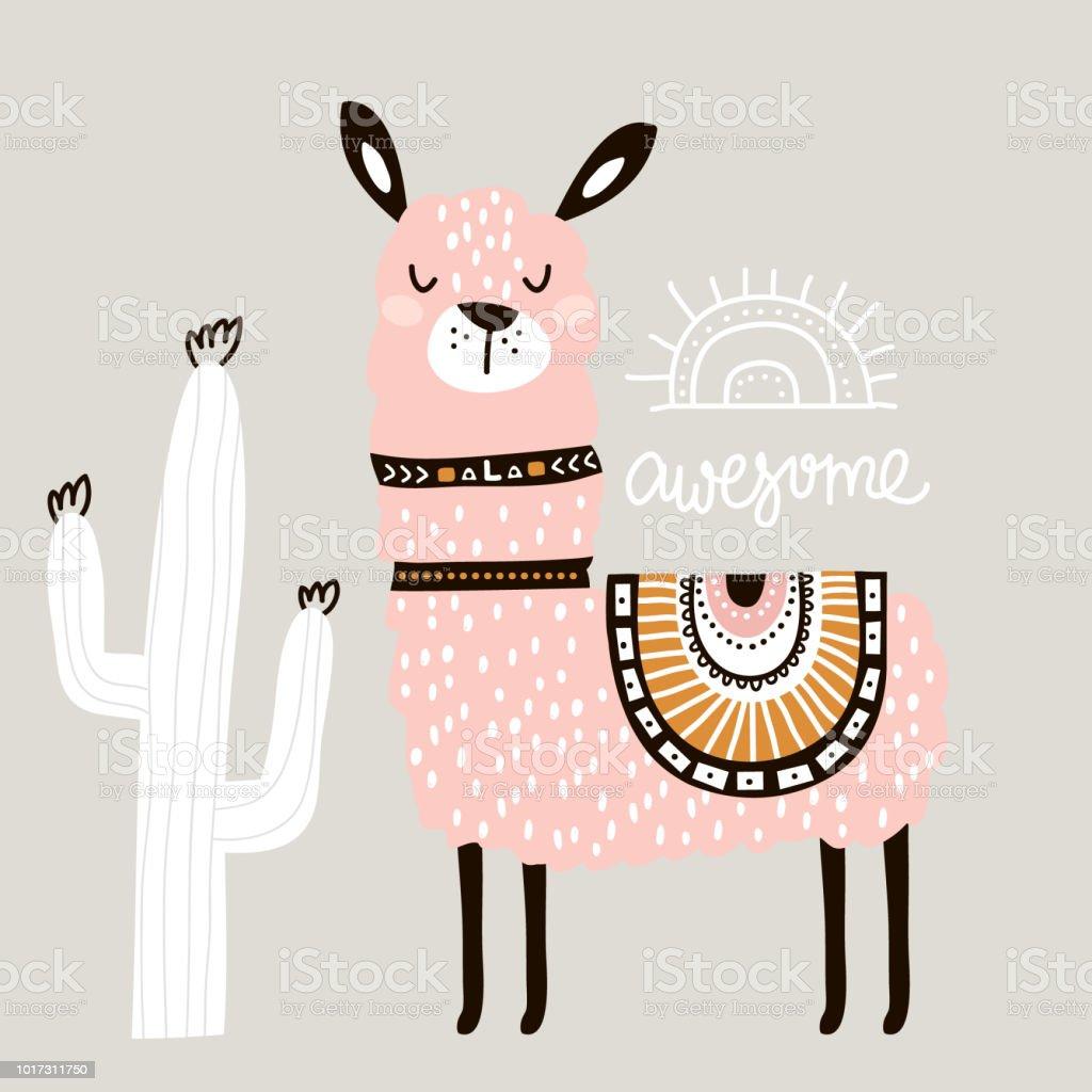 Llama de dibujos animados lindo con en estilo tribal. Impresión infantil para guardería, ropa de niños, cartel, postal. Ilustración de vector - ilustración de arte vectorial