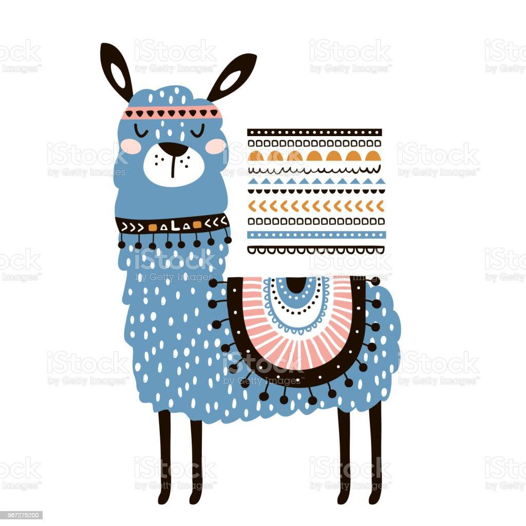 Ilustración de Llama De Dibujos Animados Lindo Con En Estilo Tribal ...
