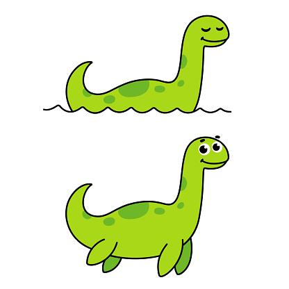 Cute cartoon Loch Ness monster