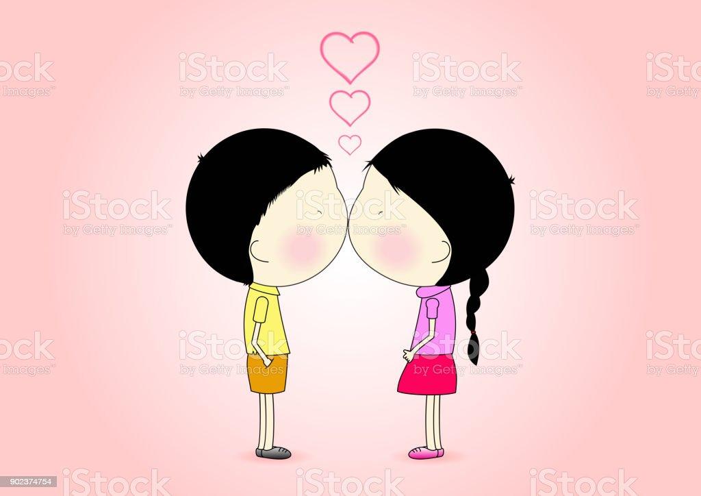 Cute Cartoon Love And Romantic Boy Girl Are Kissing Vector Illustration Royalty