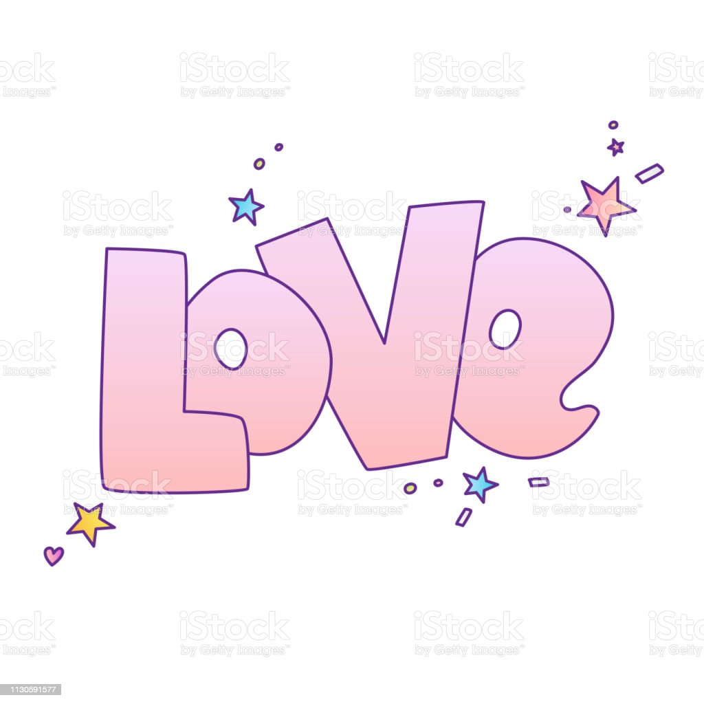 Cute cartoon Loves concept. Love lettering More Love and stars,...