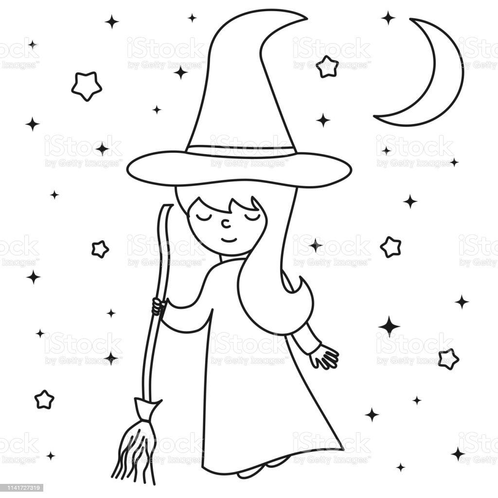 Ilustración De Lindo De Dibujos Animados Negro Y Blanco