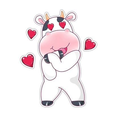 Cute cartoon lovely cow with red hearts isolated on a white background.