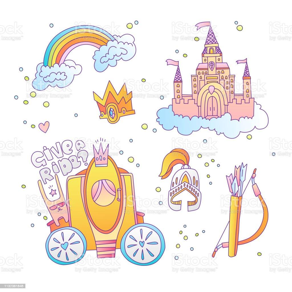 Ilustración De Linda Colección De Iconos De Princesa Mágica