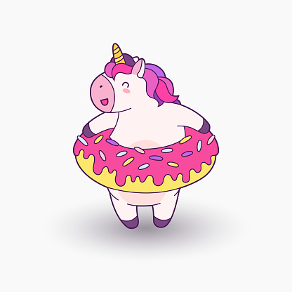 Cute cartoon magical unicorn. Vector illustration. Template for printing, background, texture, wallpaper, postcard. inflatable ring donut