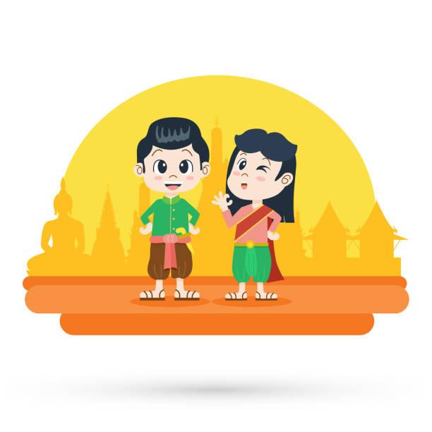 niedliche cartoon-mann und frau in thai traditionelle tracht, vektor-illustration - ayutthaya stock-grafiken, -clipart, -cartoons und -symbole