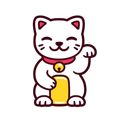 Cute cartoon Maneki Neko cat