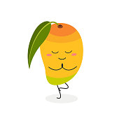 Cute funny cartoon mango doing yoga in tree pose. Vector flat illustration isolated on white background